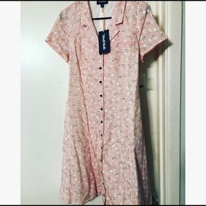 Pink with daisies button up dress